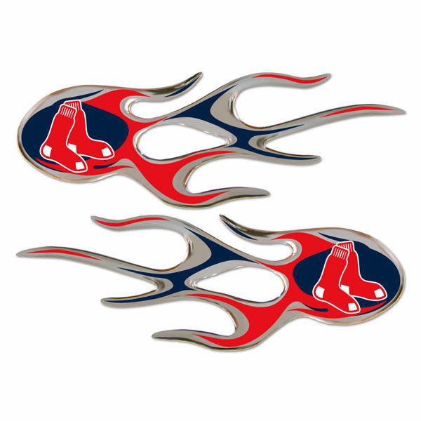 BOSTON RED SOX MICRO FLAMES CAR AUTO 3-D CHROME EMBLEM 2 PACK MLB BASEBALL