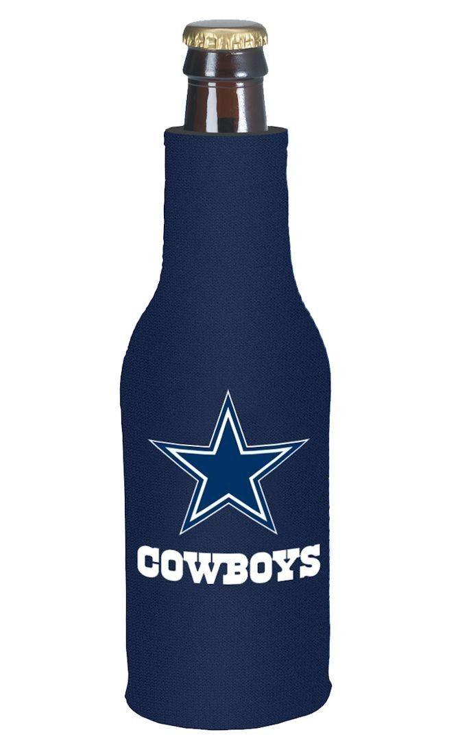 DALLAS COWBOYS BEER SODA WATER BOTTLE ZIPPER KOOZIE HOLDER NFL FOOTBALL