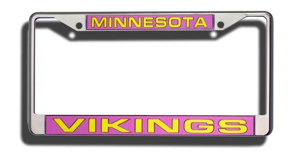 MINNESOTA VIKINGS CAR LASER MIRROR CHROME LICENSE PLATE TAG FRAME NFL FOOTBALL