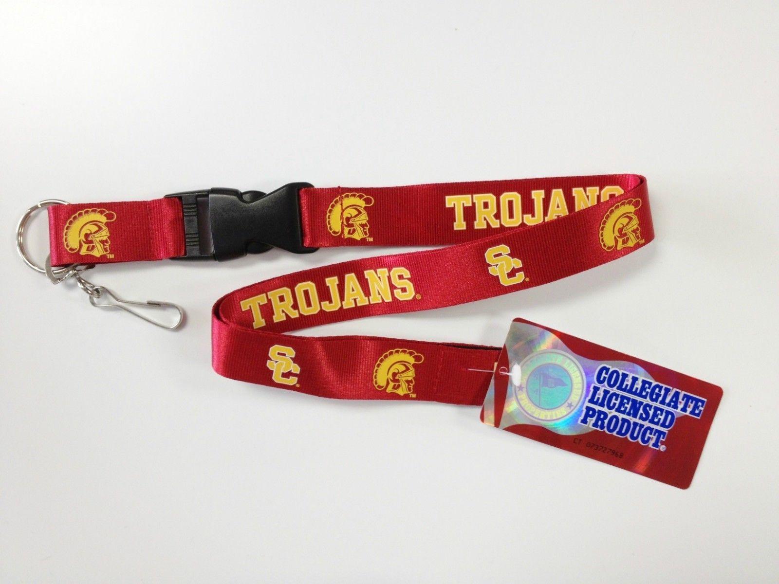 USC TROJANS TEAM LOGO LANYARD KEY CHAIN TICKET HOLDER NCAA