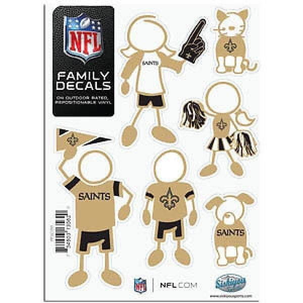 "NEW ORLEANS SAINTS 5"" X 7"" FAMILY DECAL SHEET of 6 DURABLE VINYL STICKERS"