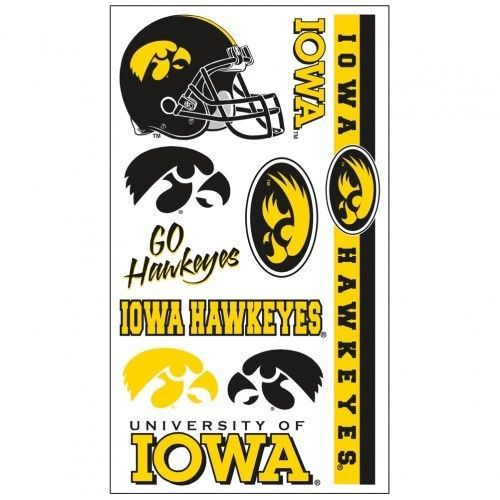 IOWA HAWKEYES TEMPORARY TATTOOS FACE BODY GAME DAY TAILGATE PARTY NCAA
