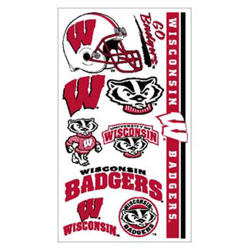 WISCONSIN BADGERS TEMPORARY TATTOOS FACE BODY GAME DAY TAILGATE PARTY NCAA