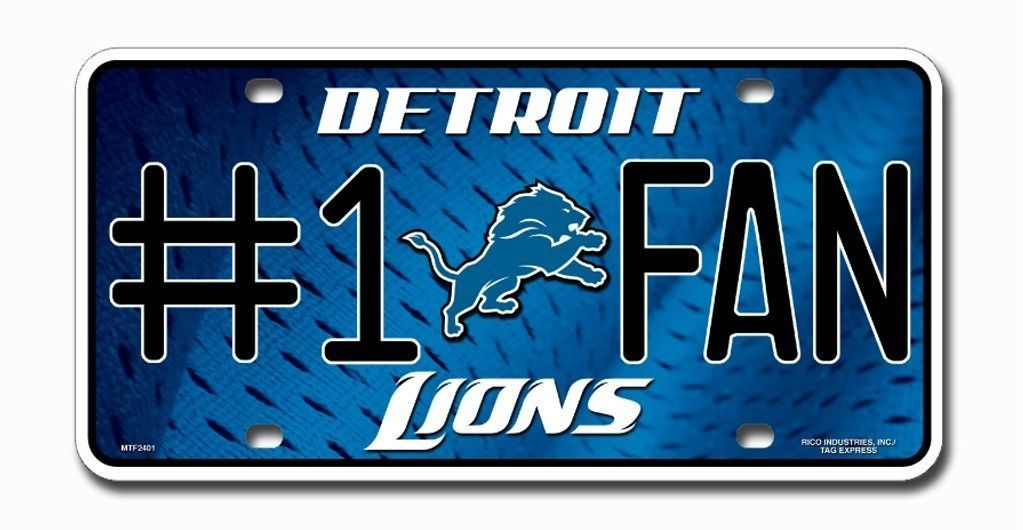 DETROIT LIONS  #1 FAN CAR AUTO METAL LICENSE PLATE TAG NFL FOOTBALL 3D EMBOSSED