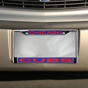 CHICAGO CUBS CAR AUTO LASER MIRROR CHROME LICENSE PLATE TAG FRAME MLB BASEBALL