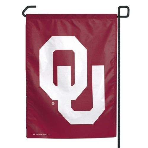 "OKLAHOMA SOONERS TEAM SCHOOL LOGO GARDEN YARD WALL FLAG BANNER 11"" X 15"" NCAA"