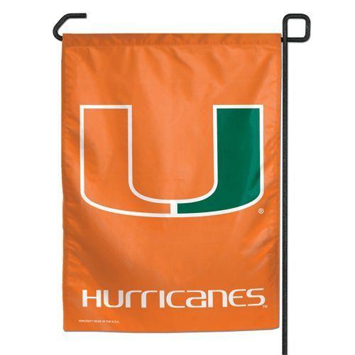 "MIAMI HURRICANES TEAM GARDEN YARD WALL FLAG BANNER 11"" X 15"""