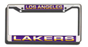 LOS ANGELES LAKERS LASER MIRROR CHROME LICENSE FRAME NBA BASKETBALL