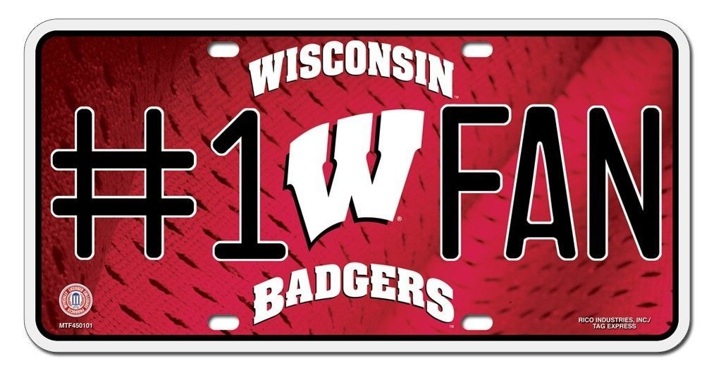 WISCONSIN BADGERS #1 FAN CAR / AUTO METAL LICENSE PLATE TAG