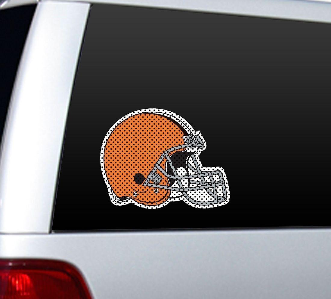 "*BIG* 12"" CLEVELAND BROWNS TEAM HELMET LOGO CAR WINDOW FILM NFL FOOTBALL"