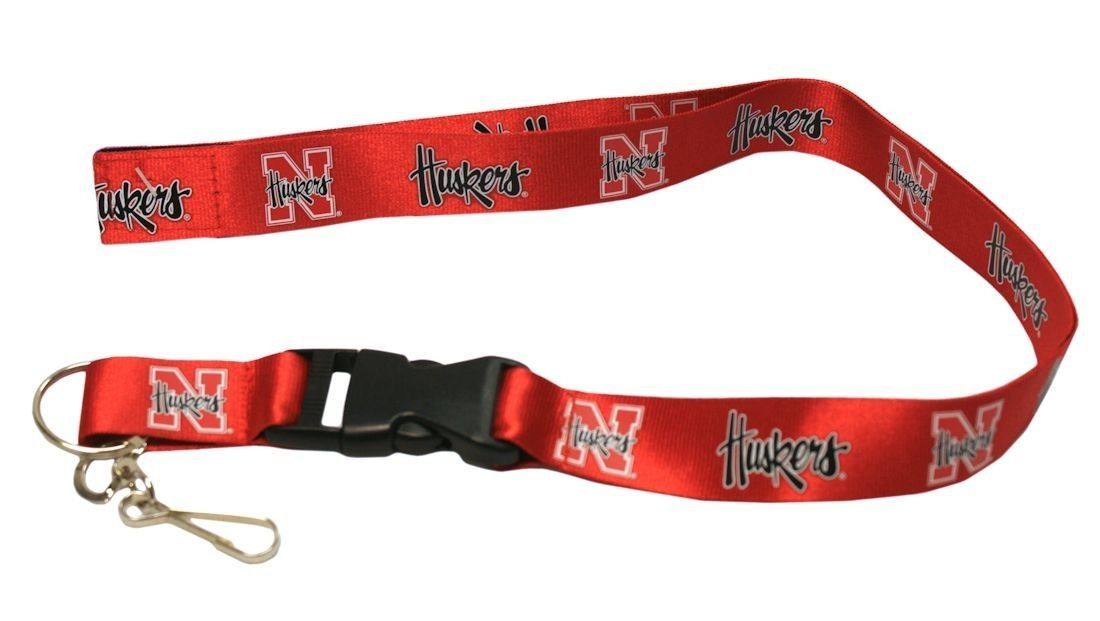 NEBRASKA HUSKERS TEAM LOGO LANYARD KEY CHAIN TICKET HOLDER NCAA