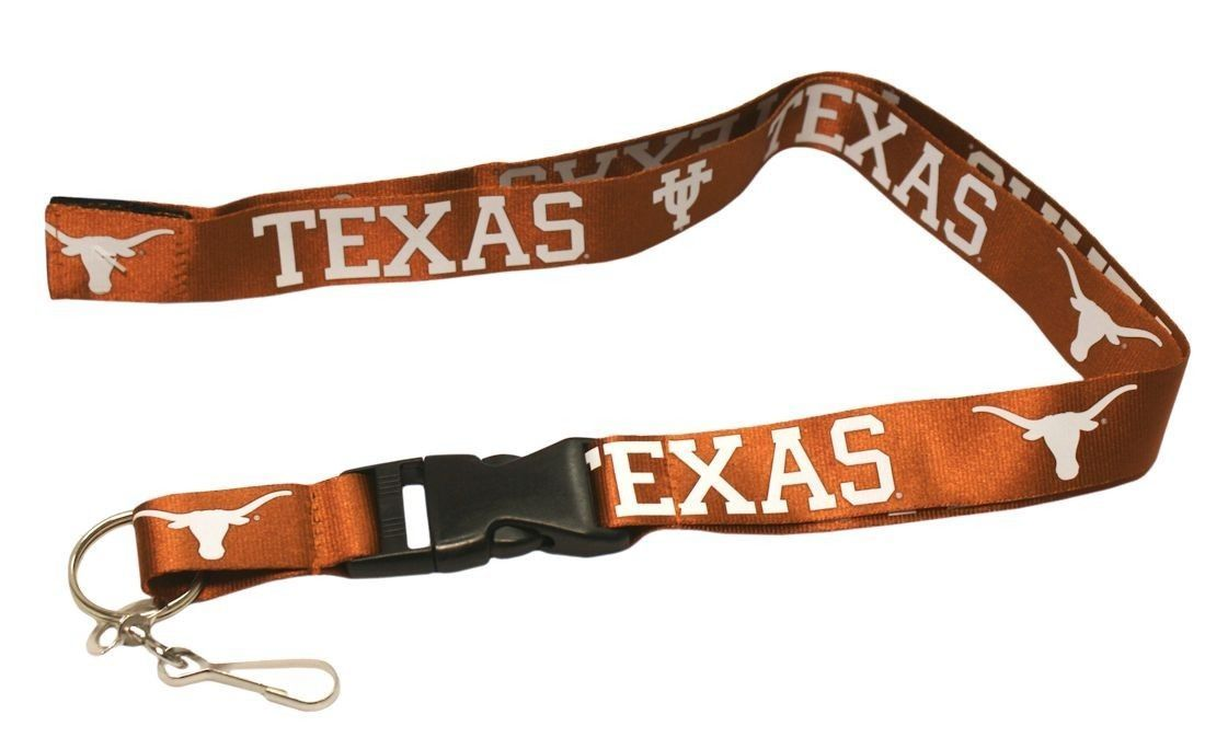 TEXAS LONGHORNS TEAM LOGO LANYARD KEY CHAIN TICKET HOLDER NCAA