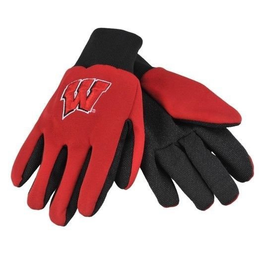 WISCONSIN BADGERS GLOVES TEAM TAILGATE GAME DAY PARTY UTILITY WORK GLOVES