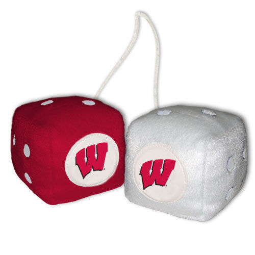 WISCONSIN BADGERS PLUSH FUZZY DICE CAR MIRROR DANGLER NCAA COLLEGE