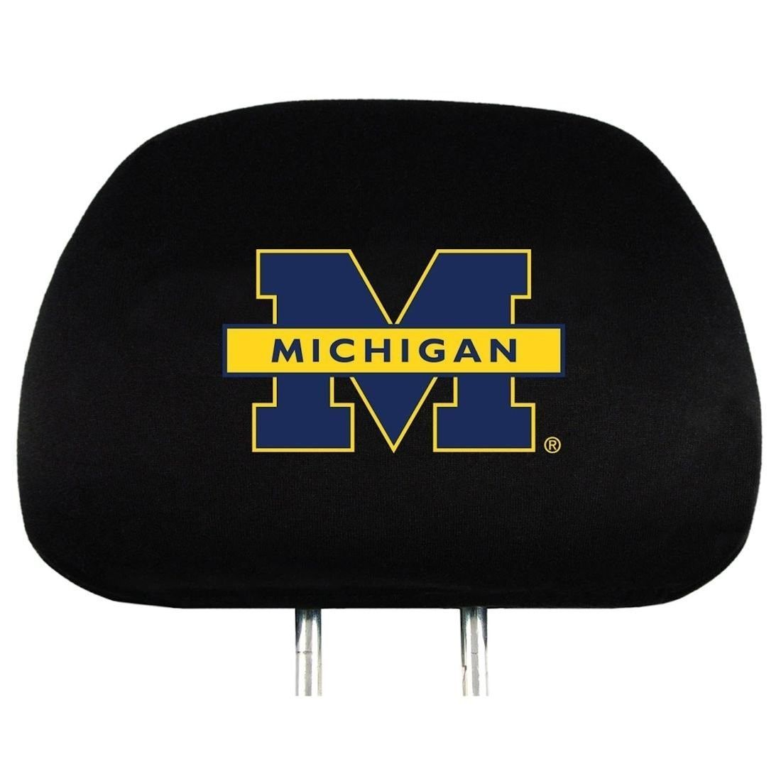 MICHIGAN WOLVERINES CAR AUTO 2 TEAM HEAD REST COVERS NCAA