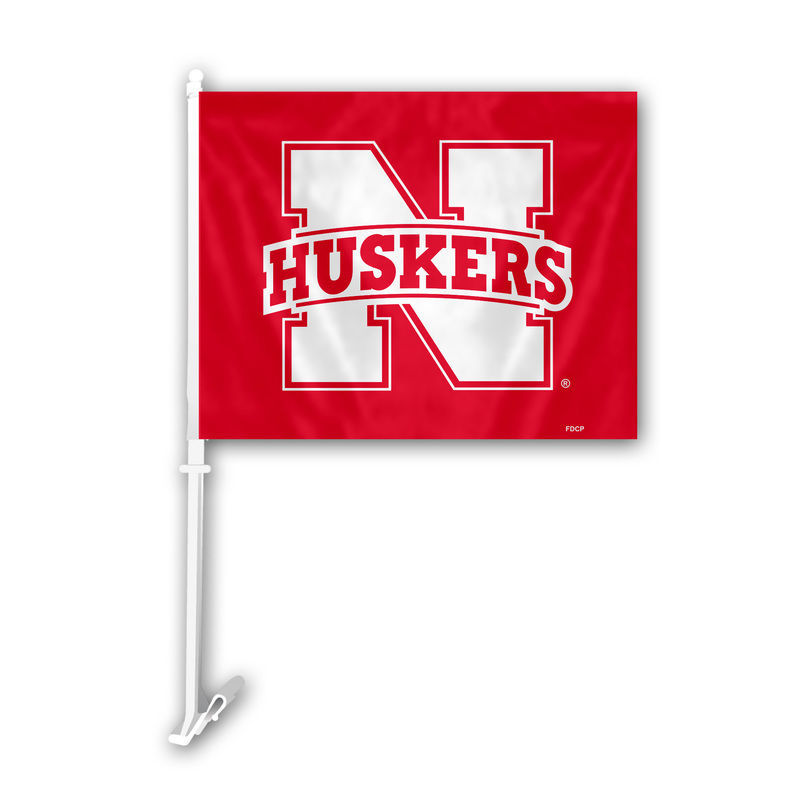 "NEBRASKA HUSKERS CAR AUTO FLAG BANNER & POLE 2 SIDED 11"" X 15"" X POLE 20"""