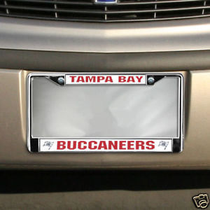 TAMPA BAY BUCCANEERS CAR AUTO CHROME METAL LICENSE TAG FRAME NFL FOOTBALL