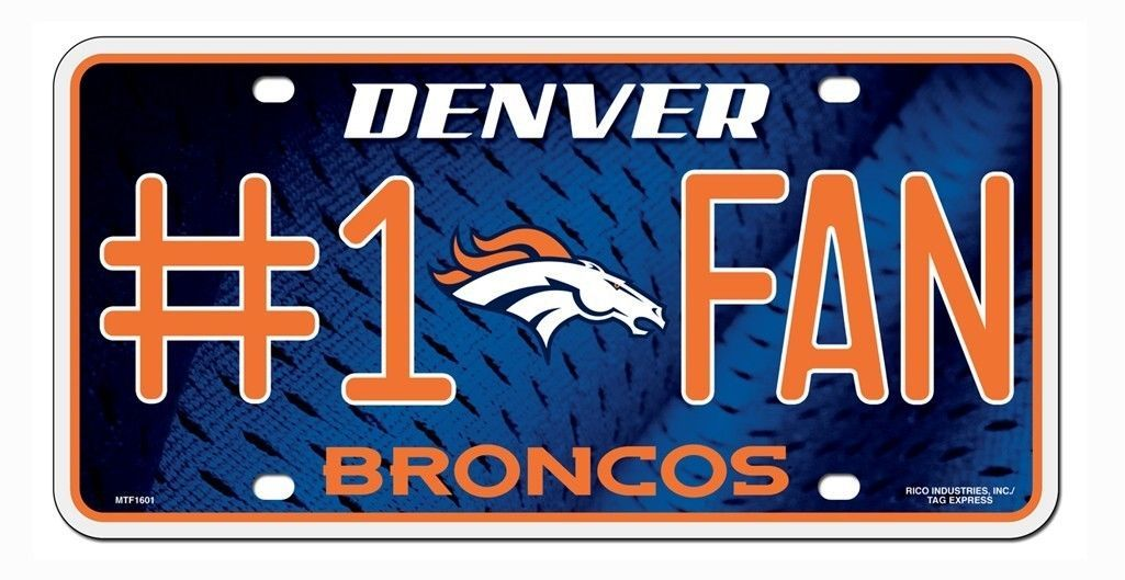 DENVER BRONCOS #1 FAN CAR AUTO METAL LICENSE PLATE TAG NFL FOOTBALL