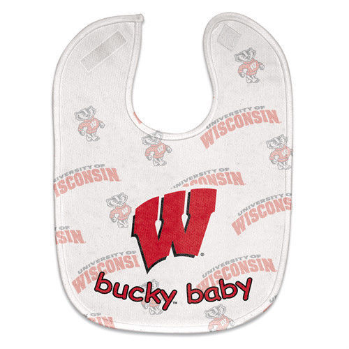 WISCONSIN BADGERS MESH BABY BIB VELCRO CLOSURE TEAM COLORS & LOGO NCAA