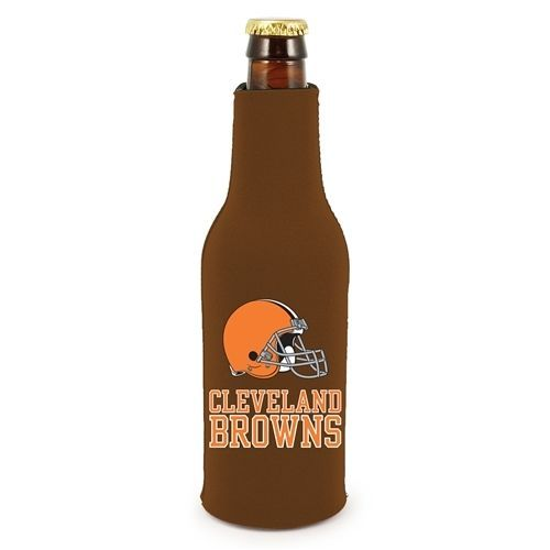 2 CLEVELAND BROWNS BEER SODA WATER BOTTLE ZIPPER KOOZIE HOLDER FOOTBALL