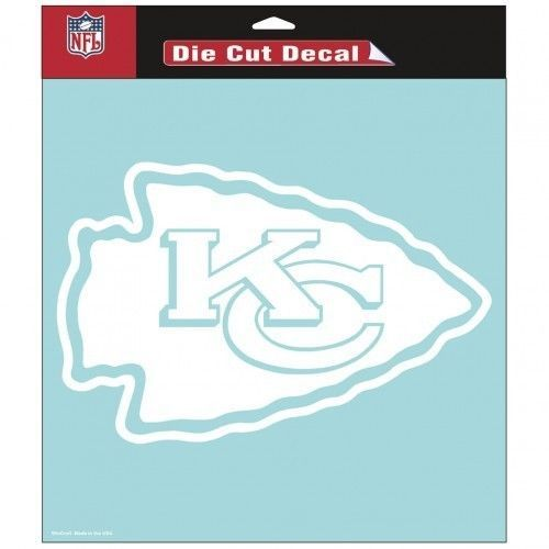 """KANSAS CITY CHIEFS 8"""" X 8"""" CLEAR FILM DIE CUT DECAL WHITE LOGO NFL FOOTBALL #1"""