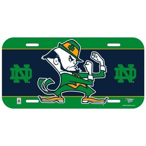 NOTRE DAME FIGHTING IRISH CAR AUTO PLASTIC LICENSE PLATE TAG SCHOOL LOGO NCAA