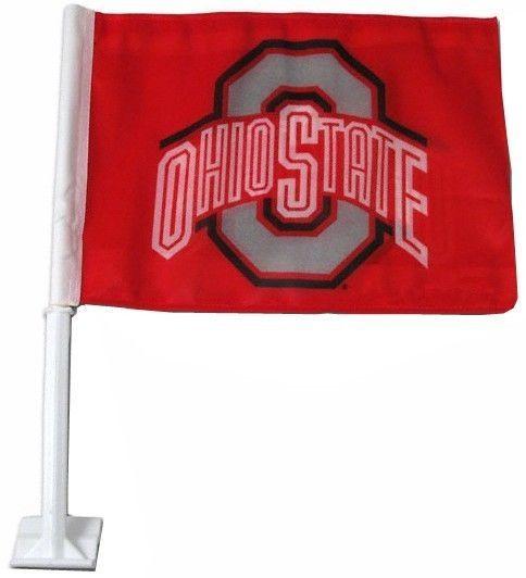 "OHIO STATE BUCKEYES CAR AUTO FLAG BANNER & POLE 2 SIDED 11"" X 15"" X POLE 20"""
