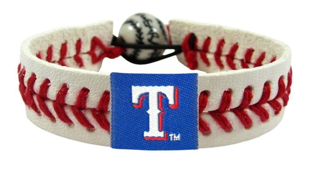 TEXAS RANGERS CLASSIC LEATHER  LACES SEAM BRACELET MLB BASEBALL