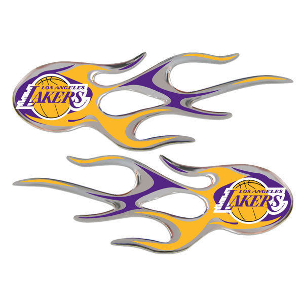 LOS ANGELES LAKERS MICRO FLAMES CAR AUTO 3-D CHROME EMBLEM 2 PACK NBA BASKETBALL