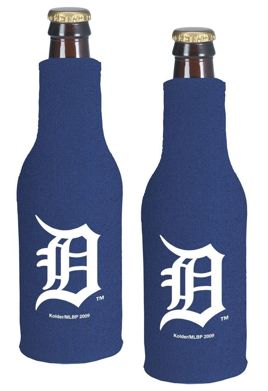 2 DETROIT TIGERS BEER SODA WATER BOTTLE ZIPPER KOOZIE HOLDER MLB BASEBALL