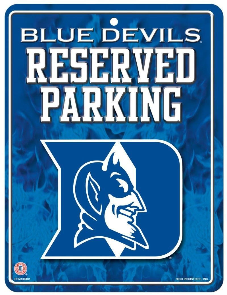 "DUKE BLUE DEVILS RESERVED PARKING METAL WALL SIGN 8.5"" X 11"" NCAA"