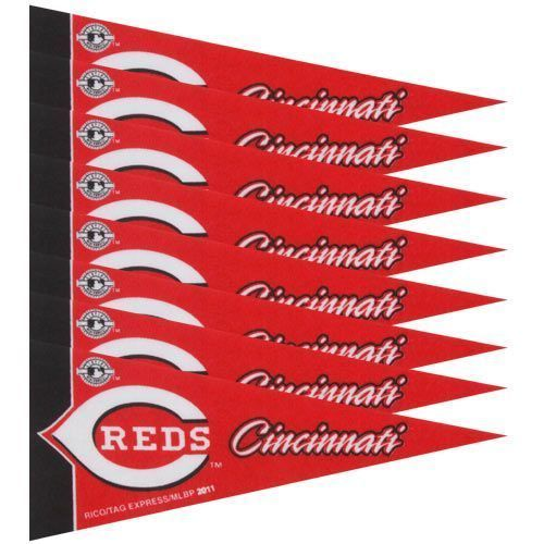 CINCINNATI REDS 8 PIECE FELT MINI PENNANTS SET PACK MLB BASEBALL