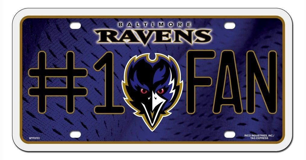 BALTIMORE RAVENS #1 FAN CAR AUTO METAL LICENSE PLATE TAG NFL FOOTBALL
