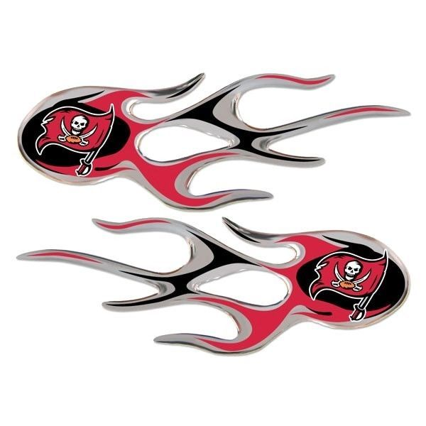 TAMPA BAY BUCCANEERS MICRO FLAMES CAR AUTO 3-D CHROME EMBLEM 2 PACK NFL FOOTBALL