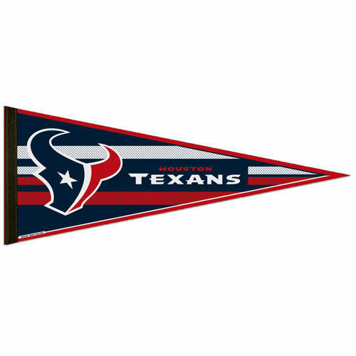 "BIG HOUSTON TEXANS TEAM FELT PENNANT 12""X30"" NFL FOOTBALL SHIPS FLAT in USA"