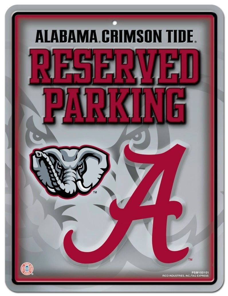 "ALABAMA CRIMSON TIDE RESERVED PARKING METAL WALL SIGN 8.5"" X 11"" NCAA"
