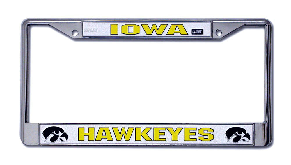 IOWA HAWKEYES CAR AUTO CHROME METAL LICENSE PLATE TAG FRAME