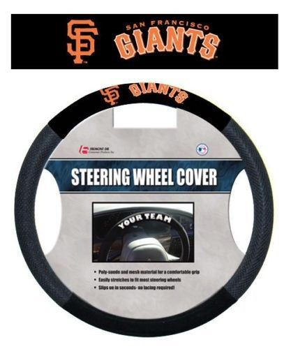 SAN FRANCISCO GIANTS MESH SUEDE CAR AUTO STEERING WHEEL COVER MLB BASEBALL