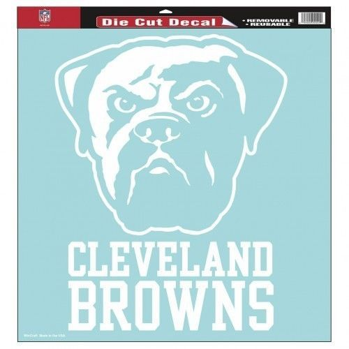 "CLEVELAND BROWNS 8""X 8"" CLEAR FILM DECAL WHITE LOGO NFL FOOTBALL #1"