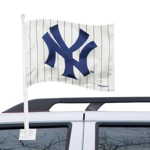 NEW YORK YANKEES CAR AUTO FLAG BANNER & POLE 2 SIDED MLB BASEBALL