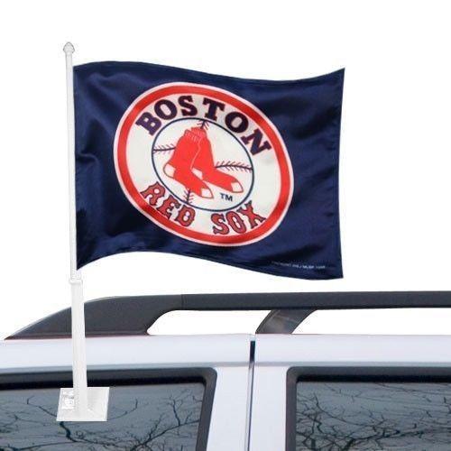 BOSTON RED SOX CAR AUTO FLAG BANNER & POLE 2 SIDED MLB BASEBALL