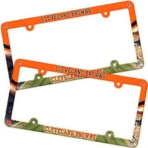 2 CLEVELAND BROWNS COLOR CAR AUTO PLASTIC LICENSE PLATE TAG FRAME NFL FOOTBALL