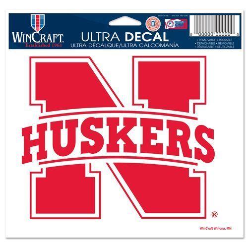 "NEBRASKA HUSKERS ULTRA DECAL TEAM LOGO 5""X 6"" CLEAR WINDOW FILM"
