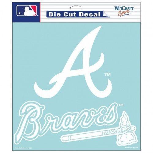 "ATLANTA BRAVES 8"" X 8"" CLEAR FILM WHITE LOGO DIE CUT DECAL MLB BASEBALL"