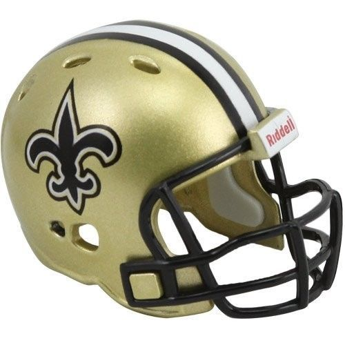"2 NEW ORLEANS SAINTS POCKET PRO NFL FOOTBALL HELMET 2"" SIZE  Made By RIDDELL!"