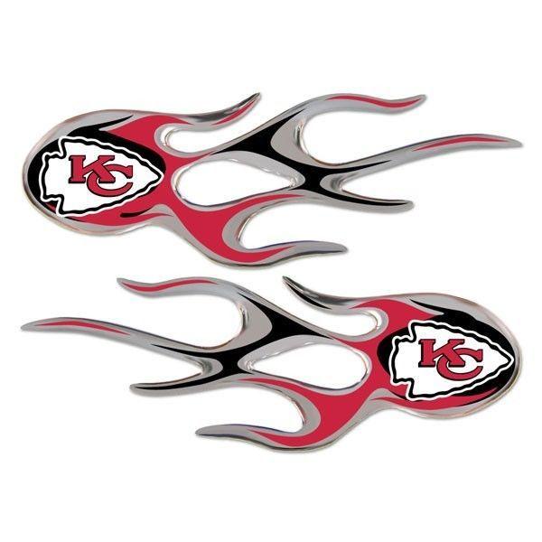KANSAS CITY CHIEFS MICRO FLAMES CAR AUTO 3-D CHROME EMBLEM 2 PACK NFL FOOTBALL