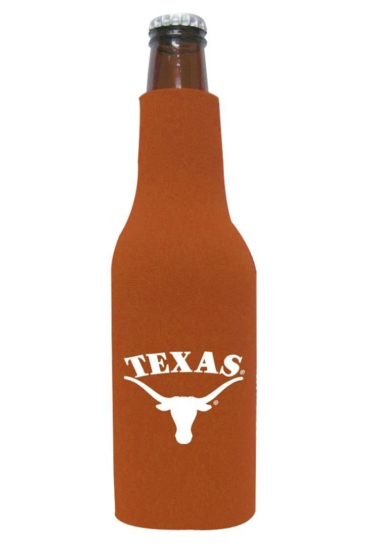 2 TEXAS LONGHORNS BEER SODA WATER BOTTLE ZIPPER KOOZIE COOLIE HOLDER