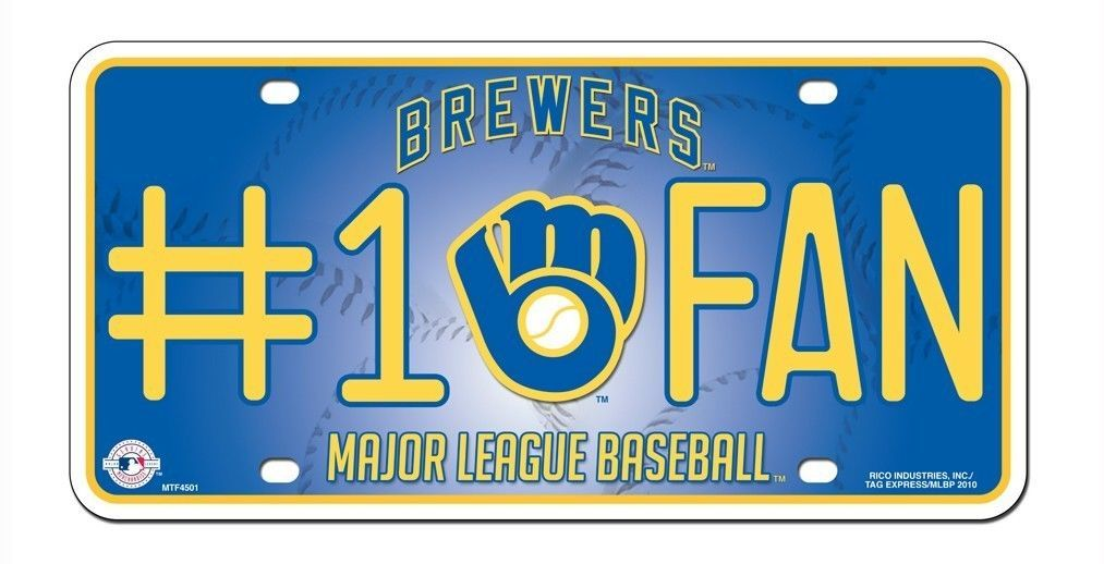 MILWAUKEE BREWERS #1 FAN CAR AUTO METAL LICENSE PLATE TAG MLB BASEBALL
