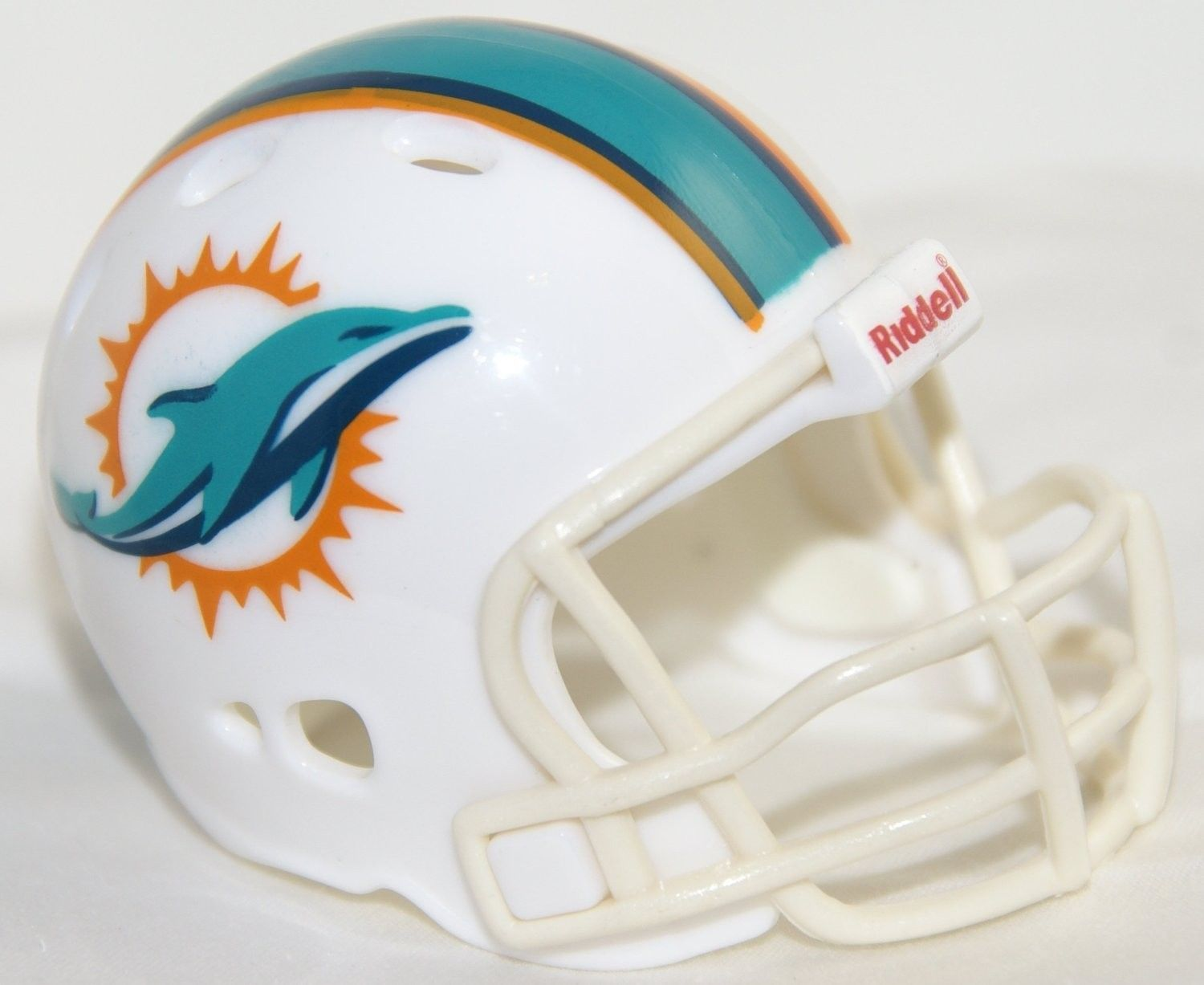 "2 MIAMI DOLPHINS POCKET PRO HELMET 2"" SIZE  Made By RIDDELL! NFL FOOTBALL"