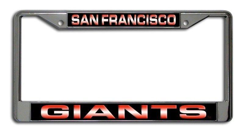 SAN FRANCISCO GIANTS LASER MIRROR CHROME CAR LICENSE FRAME MLB BASEBALL